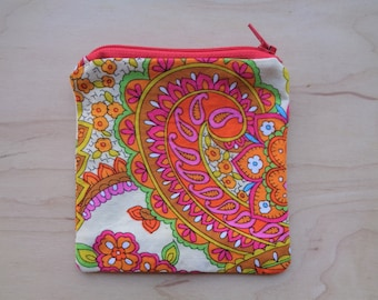 70's Paisley Zipper Pouch// Colorful Bright Fabric Pouch