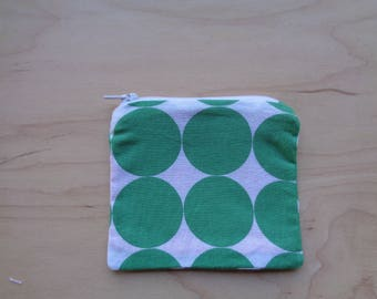 Green Polka Dot Zipper Pouch//Cute Retro Coin Purse