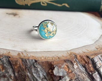 Gold leaf and turquoise ring, gift for her