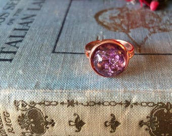 purple wildflower and rose gold ring, gift for her, gift under ten