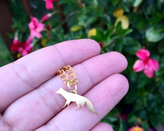 beautiful delicate gold fox charm necklace, gift for her