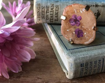 stunning one of a kind peach geode and purple wildflower statement ring