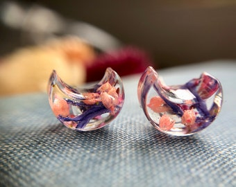 pink and purple wildflower crescent moon earrings, astral, gift for her, gift under fifteen, constellation, nature, wanderlust