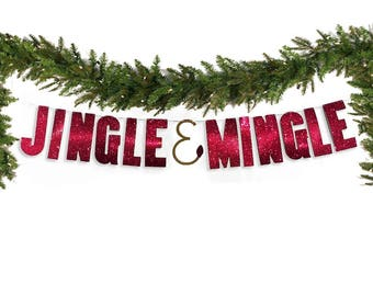 Christmas Party Holiday Banner, Jingle & Mingle Red Glitter Banner Christmas Banner, Garland, Jingle Bell Banner, Holiday Party Decor