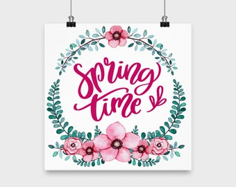 Spring time- wall art decor hanging home decor poster art seasonal flowers decoration home wall