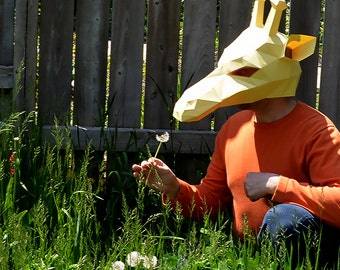 Giraffe Mask Halloween Fancy Dress Festival Papercraft DIY Awesome Paper Party Mask Paper Craft Origami Pepakura