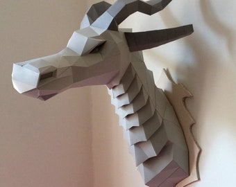 Dragon Head Low Poly Trophy Wall Mount Medieval Renaissance Gothic Game Fantasy Drogon Faux Thrones Taxidermy Printable PDF Paper Model DIY