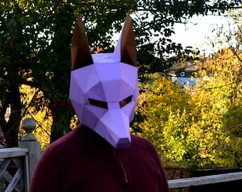 Anubis Mask Halloween DIY Awesome Paper Party Mask You Make Yourself Jackal Dog Wolf Coyote