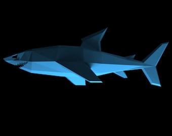 Shark Jaws Fish Trophy Papercraft Faux Taxidermy Printable PDF DIY Paper Model Great White Shark Week Sharknado Deep Blue Sharktopus