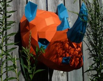 Rhino Head Rhinoceros Sumatran African Sub Sarahan Trophy Wall Mount Papercraft Faux Taxidermy Printable PDF Paper Model DIY