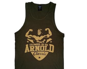 a4162e4571e5e3 Arnold Classic Men s Workout Tank Top Racerback Stringer Golds Gym  Bodybuilding Shirt T-Shirt