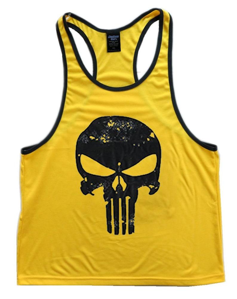 dad574d234066 Skull Logo Men s Workout Tank Top Racerback Stringer Golds Gym Bodybuilding  Shirt T-Shirt