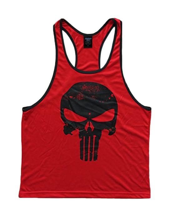 cbfb403d0cc5c Skull Logo Men s Workout Tank Top Racerback Stringer Golds