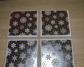 Snowflake tile coasters set of 4