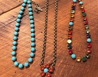Padparadscha & Turquoise Flower Necklace