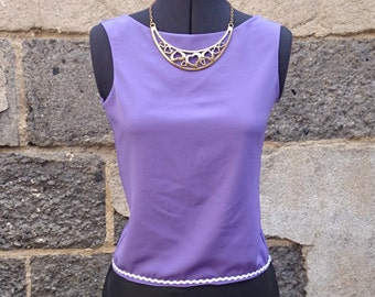 Top was crop top, top, purple top Halter sexy top, halter top, purple, purple tank top, pie, tank top, crepe, sleeveless