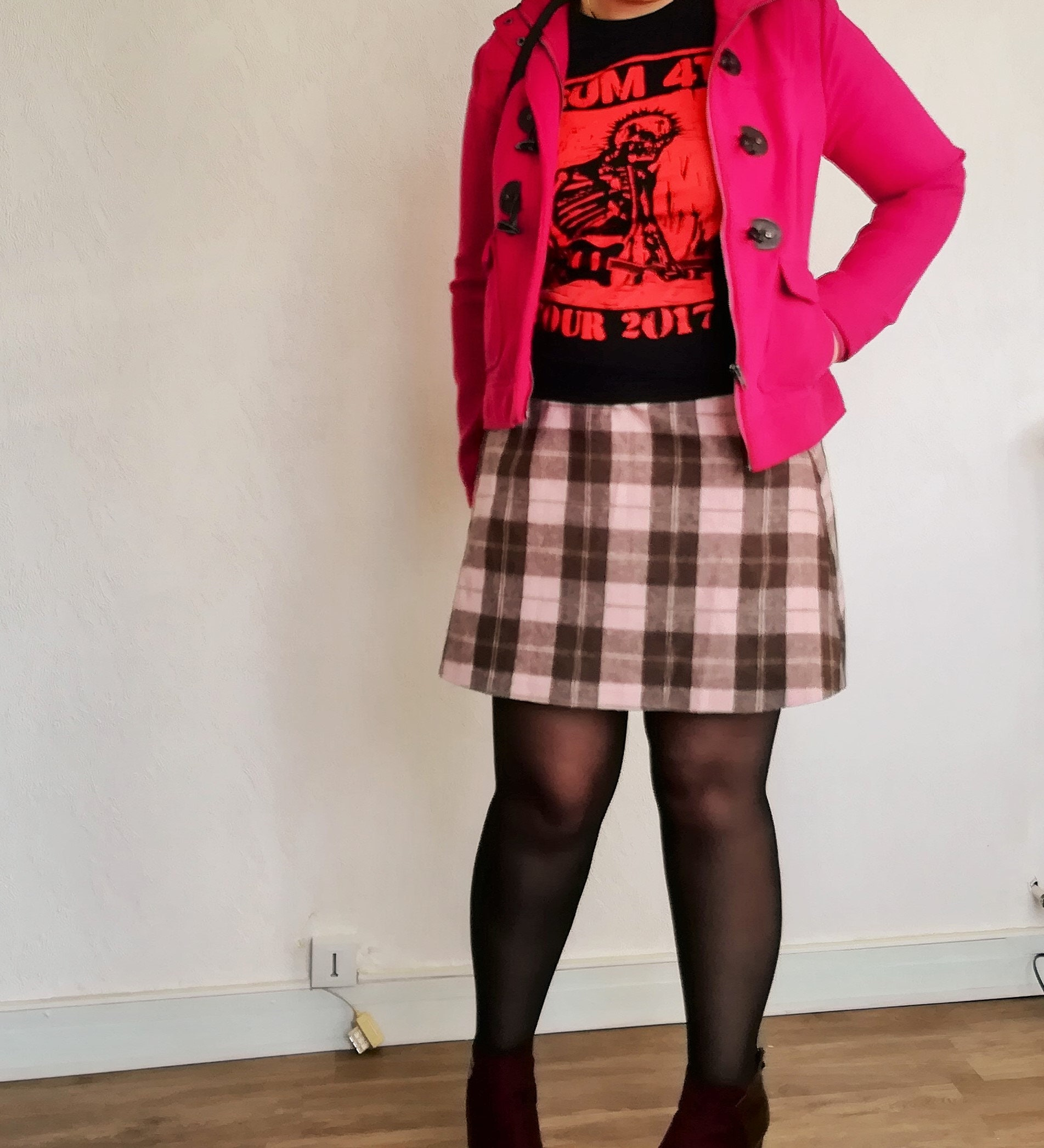 Plaid Mini Skirt Wool Pink Brown Skirt Woolen Plaid Mini Skirt Rory Gilmore Gilmore Girls Worn On Tv Tv Show Clothing Size 1 To 16