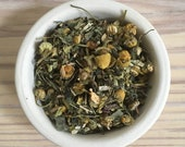 Be Calm Loose Herbal Tea - Tea Mix - chamomile flowers - skull cap - lemon balm - California poppy - oatstraw - nettle leaves - Tea Gift