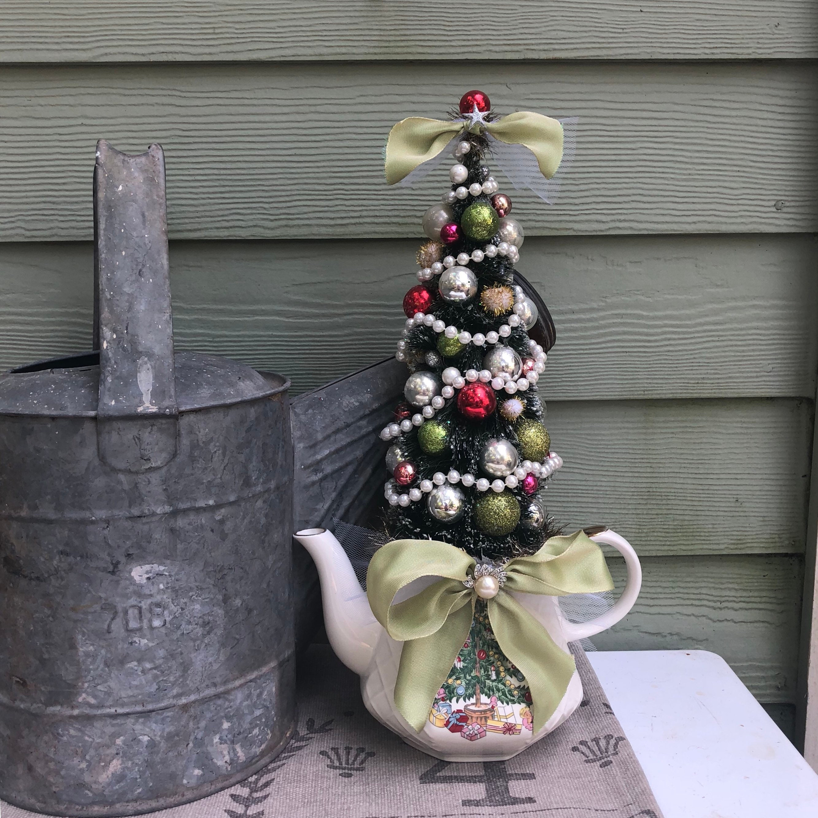 Shabby Chic Cottage Christmas Tree Holiday Centerpiece Decoration With Vintage China Teapot Vintage Jewelry Bottle Brush Tree