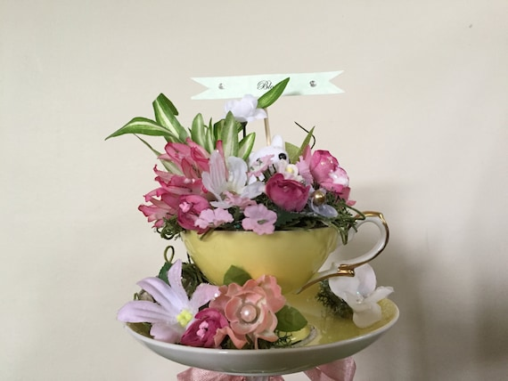 garden tea party bridal shower shabby centerpiece w tiny bunny vintage demitasse cup and