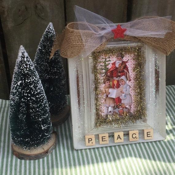 Glittered Gift Box Picture Frame Ornament