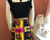 Vintage 70s Dress, Maxi Dress, 70s Disco Party, Gene Stanley, Bold Print, Sporty Dress, Sporty Dress (C334) GIFT