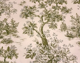 Vintage 70s Shelf Liner, Drawer Liner, Contact Paper, Self Adhesive Liner by Carlan - Green White Toile - By the Yard (B822)