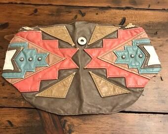 Faux Leather Patch, Southwest, Salvage Scrap, Tribal Decorative  Embelishment, Applique, Leatherwork, Purse, Craft Supplies, Destash (D002) 63b2ee815c
