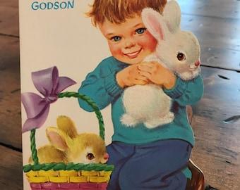 Vintage easter basket boy etsy vintage card easter card godson godfather easter basket easter bunny b656 b657 negle Gallery