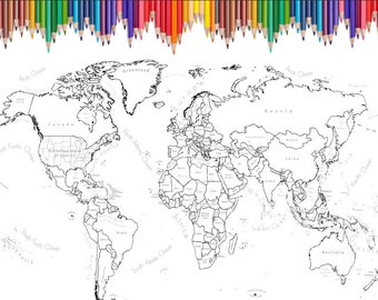 World Map Coloring Page Black White Map Countries Etsy