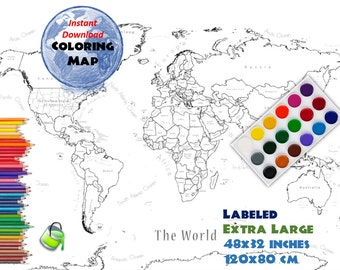 World Map Coloring Page World Sales Map Labeled World Map A4 | Etsy