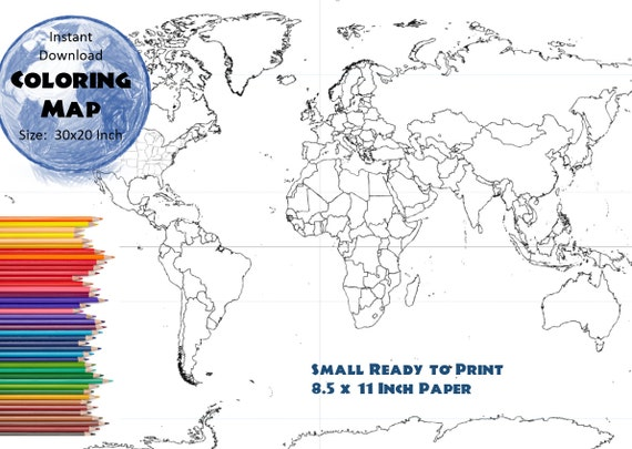 World map coloring page black white map countries outline world map coloring page black white map countries outline map without labels 85x11 inch from colormyworldmaps on etsy studio gumiabroncs Choice Image