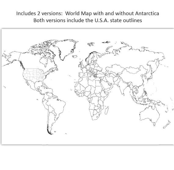 Etsy Vertrieb Karte Weltkarte 50 X 70 Cm Und 30 X 20 Zoll Färbung Karte Ländern Umriss Karte Ohne Etiketten Sofort Download