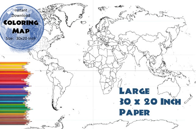 World map 30x20 inches coloring map black white map etsy image 0 gumiabroncs Images