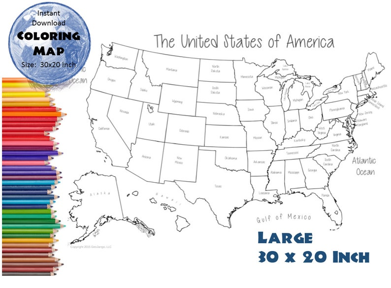 USA States Coloring Map Poster Page | USA Outline | State Labels | Blank  Map | USA Map 30x20 inches, Instant download map