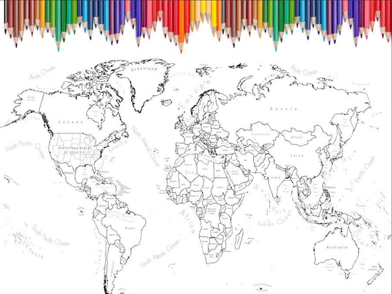 - World Map Coloring Page Printable World Map Scrapbook Size Etsy