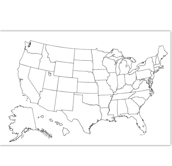 Etsy Coloring Map USA Coloring Page | USA Outline | Plain - No Labels |  Blank Map | 30x20 inches and 50x70 cm | Instant download map