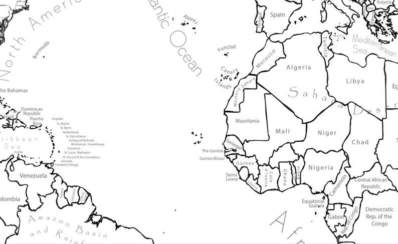 World Map Coloring Page World Sales Map Labeled World Map ...