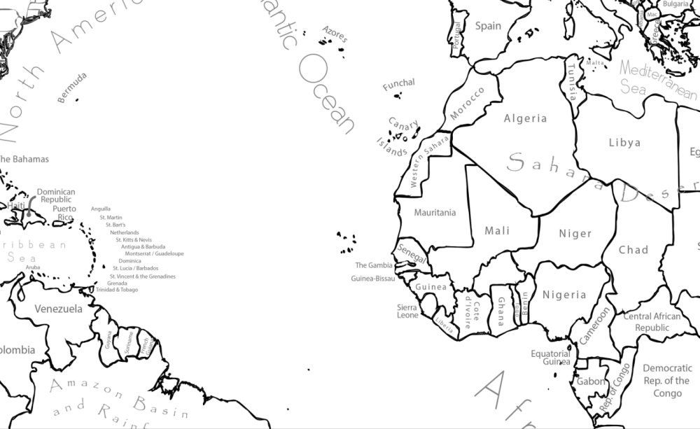 World map coloring page labeled world map a4 and 85x11 inch this is a digital file gumiabroncs Image collections