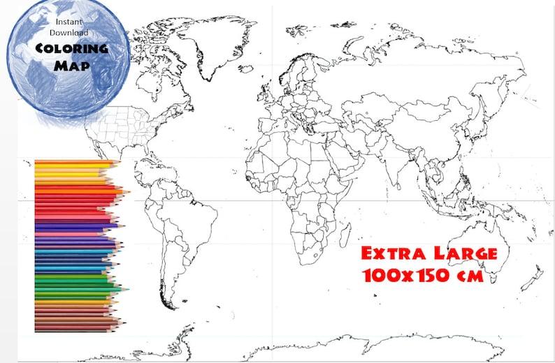 Usa Karte Ohne Staaten.Weltkarte Malvorlagen Färbung Buch Seite Usa Staaten Und Länder Umriss Karte Ohne Etiketten 100 X 150 Cm