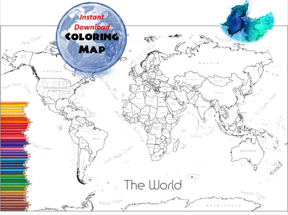 World Map Coloring Page, World Sales Map, Labeled World Map A4 and 8.5x11  inch | Coloring Book | Countries Outline | Map with Labels