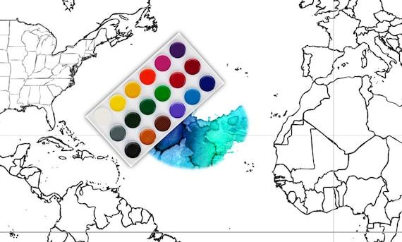 Wereldkaart 30 X 20 Inch Kleurplaat Kaart Zwart Wit Kaart Etsy