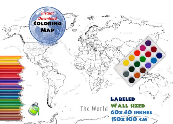 Giant Coloring World Map - Labeled - 60x40 inch and 150x100 cm | Coloring  Map | Black & White Map | Blank Map | Labed Countries and Oceans