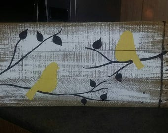 Handpainted Birds On A Limb Colored Love Pallet Sign Customizable Wall Decor Rustic Reclaimed Wood Bird Home