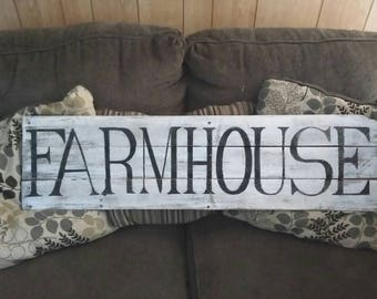 FARMHOUSE sign, Rustic Wood Farmhouse sign, large FARMHOUSE pallet sign, farm home decor, Free hand Painted Farmhouse, distressed FARMHOUSE