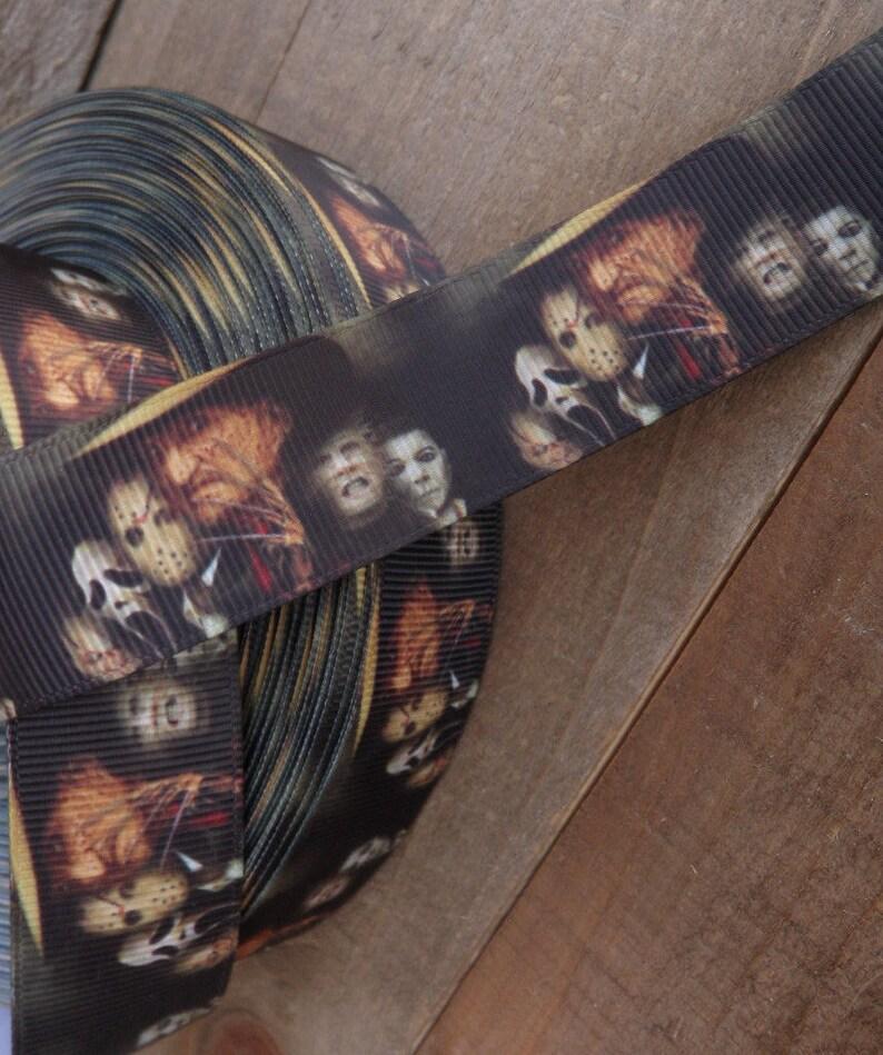 """1/"""" 2 YARDS Horror Film Grosgrain Ribbon Jason Freddy Michael Scream Halloween"""