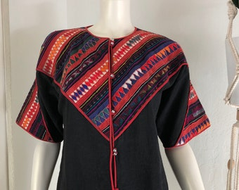 Vintage South American Size S or M Appliqué Bell Button Jacket