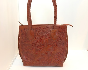 Authentic Alejandro Yeo Mexican Embossed Leather Shoulder Purse
