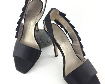 Ferragamo Sling Back Black Heels Size 6.5 US 1990s 90s Made in Italy