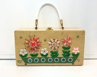 """Vintage Enid Collins Hand Crafted """"Flower Box"""" Wooden """"Box Bag"""""""